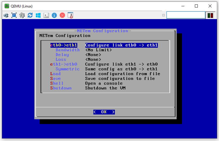 NETem initial screen