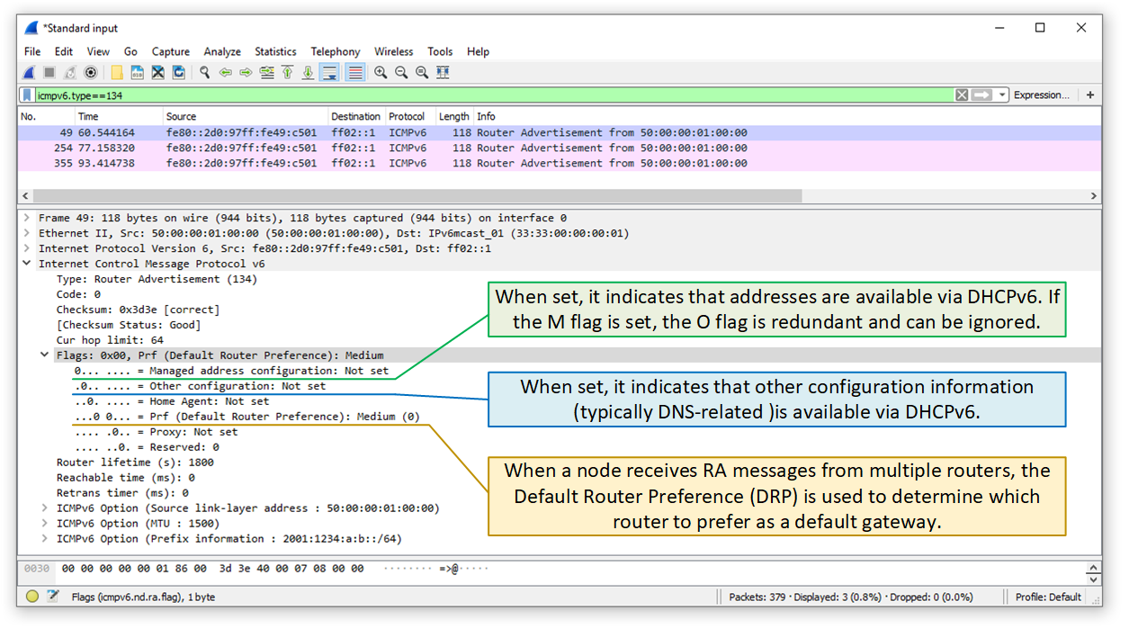 Examining the Router Advertisement Flags with Wireshark